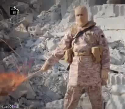 داعش,آتش زدن خلبان اردن,کلیپ آتش زدن خلبان اردنی